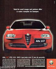 PUBLICITE ADVERTISING 026  2002  Alfa Romeo   ALFA 147 Jtd 115 rouge