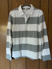 J. Crew Gray/White Striped SZ M Long Sleeve Polo New With Tags!