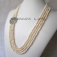 "24-27"" 5-6mm White 4Row Freshwater Pearl Necklace A-10 U"
