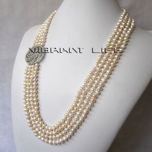"""24-27"""" 5-6mm White 4Row Freshwater Pearl Necklace A-10 U"""