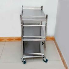 Durable Lab Serving Medical Dental Cart Stainless Steel Trolley Three Layers KPA