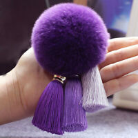 8cm Furry Fuzzy Pompom Ball Tassel Keychain Bag Car Key Ring Chain Pendant Decor