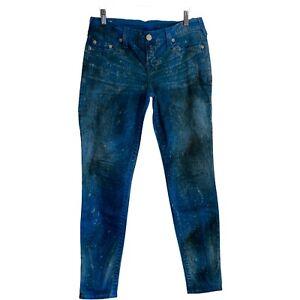 True Religion Jeans Hose CASEY Gr. 29 Slim Fit Blau gemustert TOP ☆