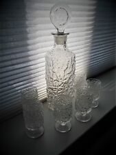 Vintage 80s Whitefriars Glacier Crystal Sherry decanter and 6 sherry glasses