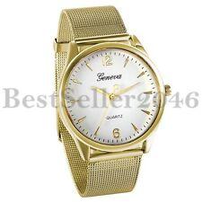 Geneva Luxury Mens Women Watches Stainless Steel Band Analog Quartz Wrist Watch