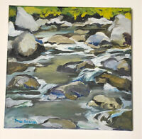 ORIGINAL OIL Painting Signed G Scherer Stream River Rocks Water Waterfall