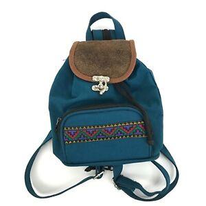 Vintage '90s Aztec Print Mini Backpack Drawstring Adjustable Zippered Strap