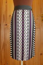 PER UNA M&S black oatmeal purple aztec pencil straight midi knee skirt 12 40