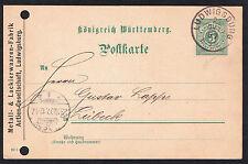 Vintage German Königreich Württemberg 1897 5pf pre-paid Postcard - Ludwigsburg