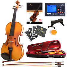 Mendini Size 1/2 Solidwood Violin Ebony Fitted +Tuner+Book/Video ~1/2MV400