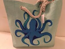 BEACH STRAW tote bag lined BLUE OCTOPUS rope handles pocket SNAP close NEW TAGS