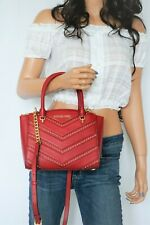 NWT MICHAEL KORS ELLIS SMALL SATCHEL SMOOTH LEATHER SHOULDER BAG RED/GOLD STUDS