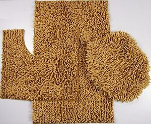 3 Piece Mixed Shiny Chenille Bath Mats Set Made with super soft Microfiber Gold