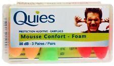 Quies Protection Auditive Foam Earplugs- 3 Pairs