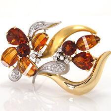 """Brosche von """"Juwelier Weyersberg"""" - Citrine und Diamanten - 750/18K Gold - 28,6g"""
