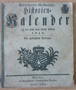 Kalender, Verbesserter Gothaischer Historien kalender auf das Jahr 1842