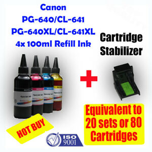 Canon PG640 PG640XL / CL641 CL641XL Refill Color Ink 4x100ml MG2160 3160