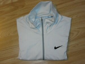 Mens NIKE GOLF Dri-Fit Light Grey Stretch Zip Neck Top Long Sleeve L Large GREAT