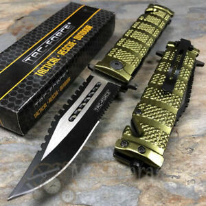 Tac Force Green Sawback Bowie Tactical Serrated Spring Assisted Pocket Knife