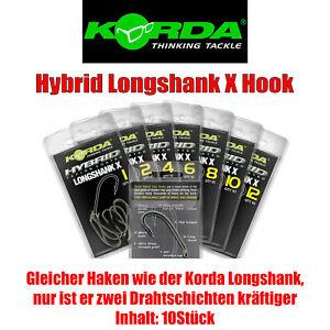 Korda Hybrid Longshank X - 10Stück - verschiedene Größen Karpfenhaken Carp Hook