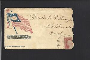 DETROIT, MICHIGAN,#26 USED CIVIL WAR PATRIOTIC COVER, SCARCER FLAG DESIGN.