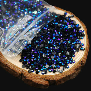 2000PCS 2mm Round AB Rhinestone Nail Art Glitter Acrylic Crystal Decorations Tip