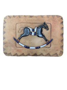 Pottery Nan Groves Rocking Horse Wall Tile Nursery Tile Warming Plaque Clay