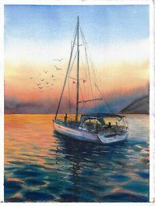 original painting 28 x 38 cm 132PO art watercolor seascape sailboat sunset yacht