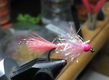 (6) Tungsten Bead Head Shrimp Pink UV Estaz Monster Egg Flies For Steelhead