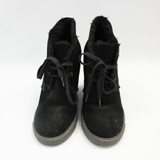 Women's SEE BY CHLOE Black Suede Shearling Wedge Ankle Boots EU39 UK6 - E26