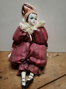 """Vintage Porcelain Jester Clown Doll 10"""" Tall with Tassel Hat Puffy Clothes"""