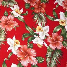 Hawaiian Print Cotton Fabric, 'Ama'u, 'Okikas, Koki'o 'ula on Red, Per 1/2 Yd