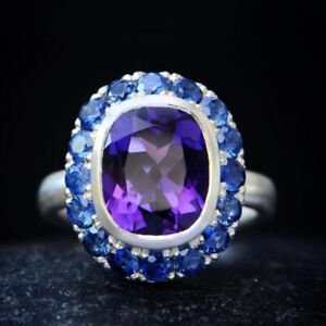 Sterling Silver Amethyst and Blue Sapphire Halo Ring, Statement, Vintage Ring