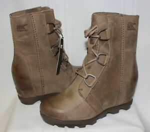 Sorel Women's Joan Of Arctic Wedge Boots Ash Brown Leather New With Box