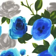 Michael Miller On The Town Marilyn Blue Rose Flowers on White Cotton Fabric - FQ