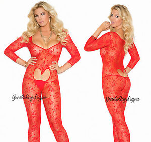 Plus Size RED FLORAL LACE Footless BodyStocking HEART cut-out Crotchless QUEEN