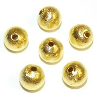 MB515 Gold Brushed Textured 12mm Round Brass Metal Spacer Beads 20pc
