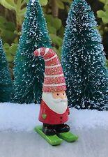 Miniature FAIRY GARDEN ~ Gnome Holidays CHRISTMAS Mini Santa on Skis Figurine
