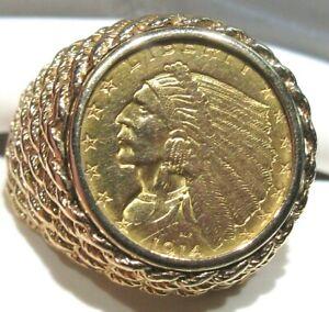 Men's 14 Karat Yellow Gold Ring Size 10 1914 $2.5 Indian Head Gold 14.5 Grams