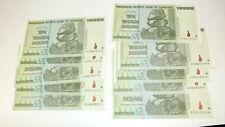 Zimbabwe 10 Trillion Dollar x 10 Pcs Bundle Lot 2008 AA UNC 100 Trill Series