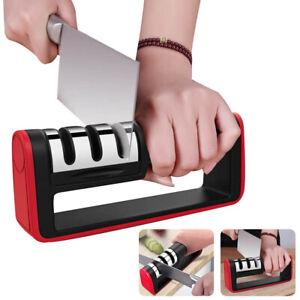 Kitchen Knife Sharpener Manual 3 Stage Sharpening Tool & Anti Slip Bas