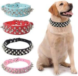 Spiked Studded Rivet Pu Faux Leather Pet Dog Collar for Small Medium Pets Puppy