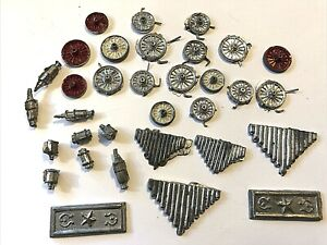 VTG HO Scale Train Accessories- Lot of 33 - Metal, Grills, Signs, Wheels, Misc.