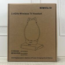 New 2.4GHz SIMOLIO Wireless TV Headset (Grey and Black)