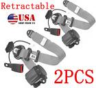 2PCS Universal Car 3-Point Safety Retractable Seat Belt Lap & Diagonal Belt Gray