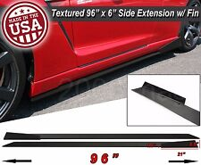 "96"" Extension Flat Bottom Line Lip Side Skirt w/ Fin Diffuser For  Honda Acura"