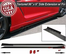 "96"" Extension Flat Bottom Line Lip Side Skirt w/ Fin Diffuser For Mazda Subaru"