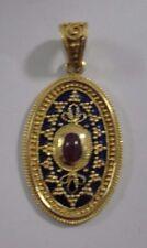 18k Yellow Gold Blue Enamel Ruby Pendant Jewelry .750 #HKRP859