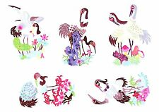Chinese Paper Cuts 10 Crane Set 10 colorful small pieces Chen