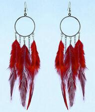 F3443F Red Feather Earrings Chain Circle Chandelier Eardrop Handmade Jewelry